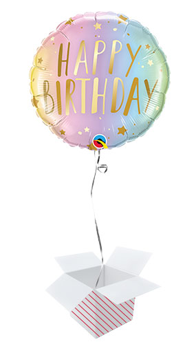 Birthday Pastel Ombre And Stars Round Qualatex Foil Helium Balloon - Inflated Balloon in a Box Product Image