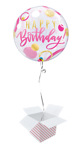 Birthday Pink And Gold Dots Bubble Helium Qualatex Balloon - Inflated Balloon in a Box Product Image