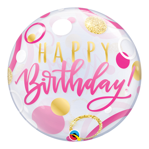 Birthday Pink And Gold Dots Bubble Helium Qualatex Balloon 56cm / 22 in Product Image