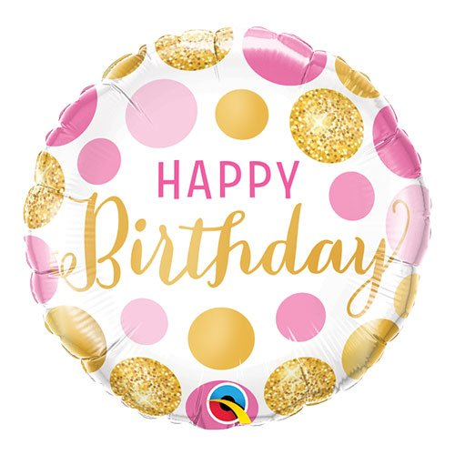 Birthday Pink And Gold Dots Round Qualatex Foil Helium Balloon 46cm / 18 Inch Product Image