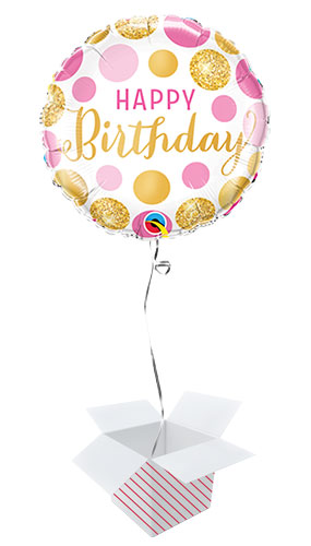 Birthday Pink And Gold Dots Round Qualatex Foil Helium Balloon - Inflated Balloon in a Box Product Image