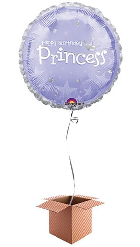 Birthday Princess Round Foil Balloon - Inflated Balloon in a Box Product Image