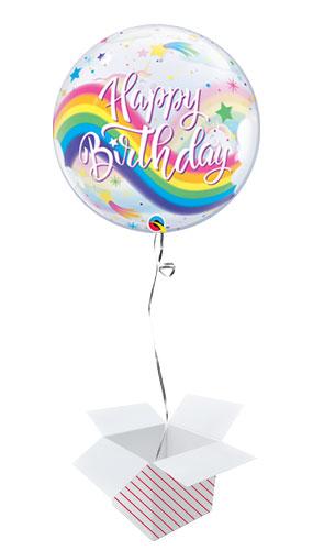 Birthday Rainbow Unicorns Bubble Helium Qualatex Balloon - Inflated Balloon in a Box