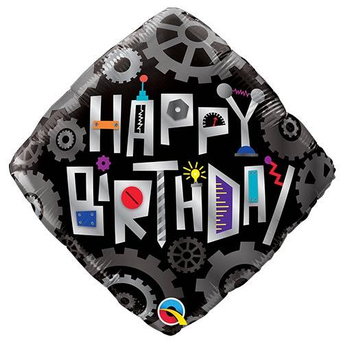 Birthday Robot Cogwheels Foil Helium Qualatex Balloon 46cm / 18 in Product Image