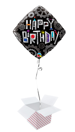 Birthday Robot Cogwheels Foil Helium Qualatex Balloon - Inflated Balloon in a Box Product Image