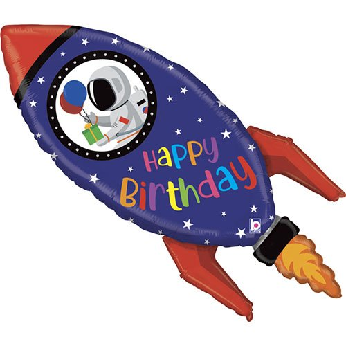 Birthday Rocket Helium Foil Giant Balloon 102cm / 40 in Product Image