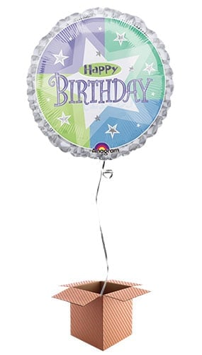 Birthday Shimmer Round Foil Balloon - Inflated Balloon in a Box Product Image