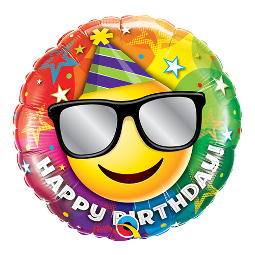 Birthday Smiley Round Foil Helium Qualatex Balloon 46cm / 18 in Product Image