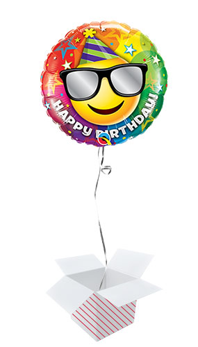 Birthday Smiley Round Foil Helium Qualatex Balloon - Inflated Balloon in a Box Product Image
