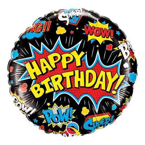 Birthday Superhero Black Round Qualatex Foil Helium Balloon 46cm / 18 Inch Product Image