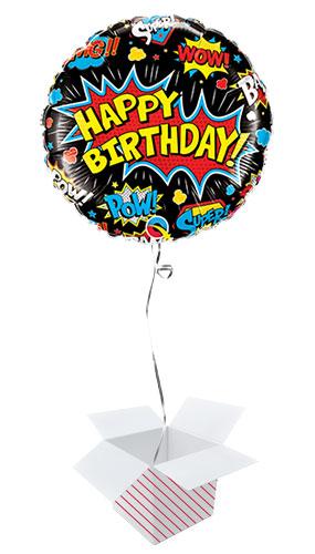 Birthday Superhero Black Round Qualatex Foil Helium Balloon - Inflated Balloon in a Box