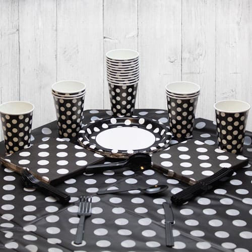 Midnight Black Decorative Dot 18 Person Party Pack