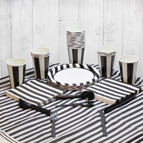 Black And White Stripe 18 Person Party Pack