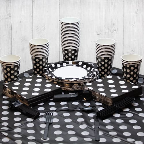 Midnight Black Decorative Dot 54 Person Party Pack