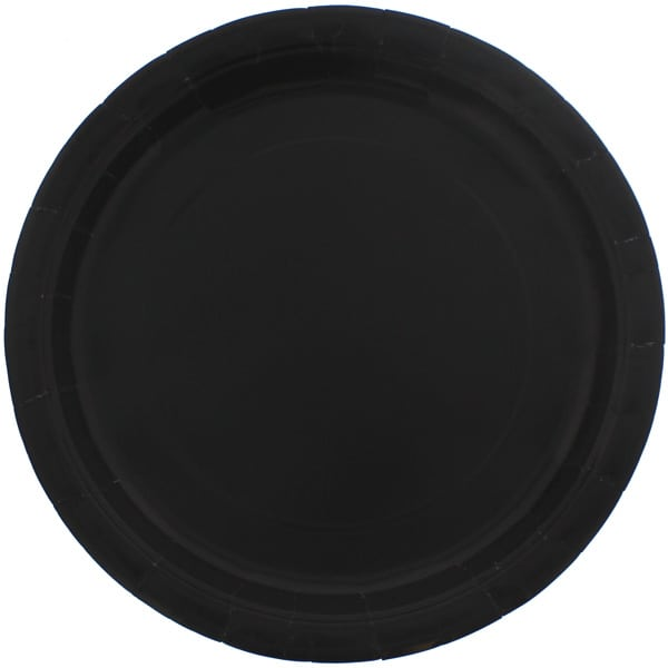 Black Round Paper Plates 22cm - Pack of 16