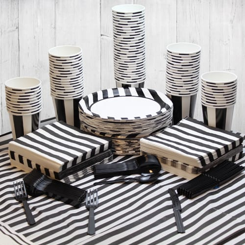 Black And White Stripe 90 Person Party Pack