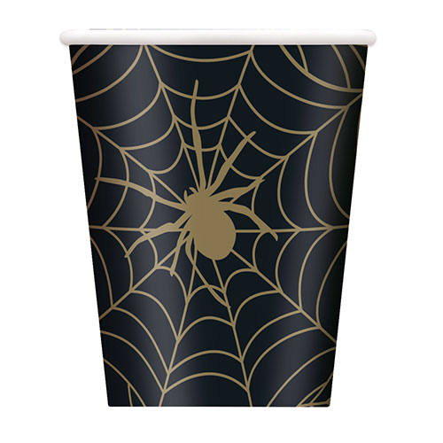 Gold Spider Web Halloween Paper Cups 270ml - Pack of 8 Product Image