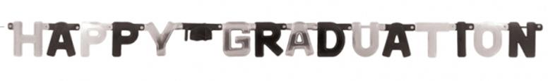 Black & Silver Happy Graduation Foil Cardboard Letter Banner 252cm Product Image