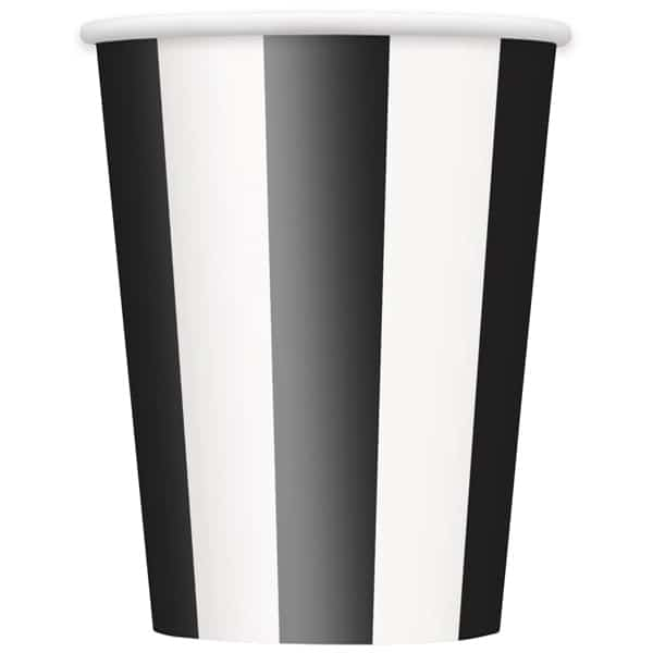 Black and White Stripes Paper Cups 354ml - Pack of 6
