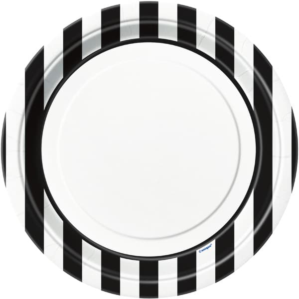 Black and White Stripes Paper Plates 22cm - Pack of 8
