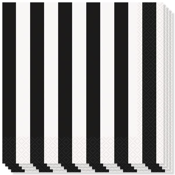 Black and White Stripes Theme Luncheon Napkins - 2Ply - 33cm - Pack of 16