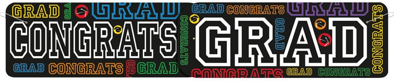 Black Congratulations Graduate Giant Banner - 1.36m
