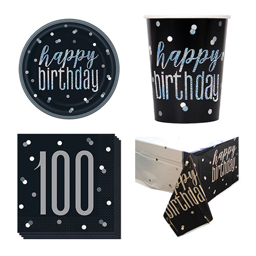 Black Glitz 100th Birthday 8 Person Value Party Pack