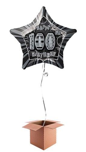 Black Glitz 100th Birthday Prismatic Star Shape Foil Balloon - Inflated Balloon in a Box