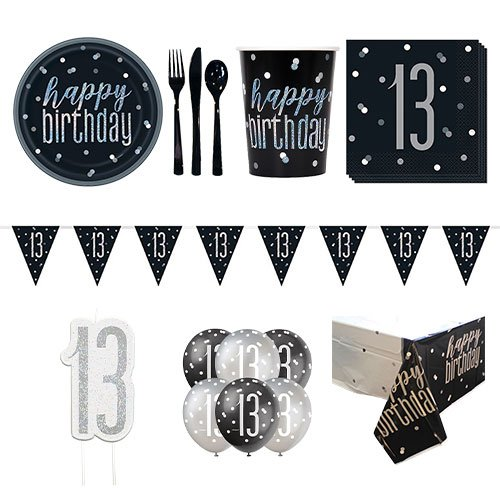 Black Glitz 13th Birthday 8 Person Deluxe Party Pack