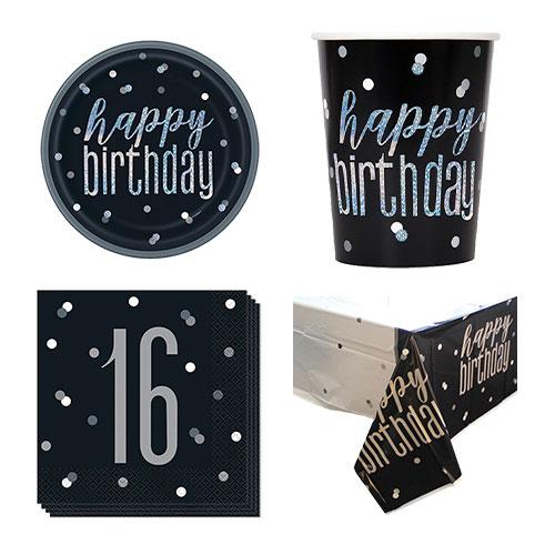 Black Glitz 16th Birthday 8 Person Value Party Pack