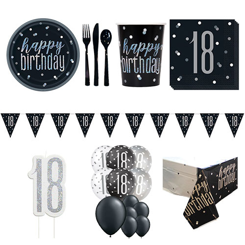 Black Glitz 18th Birthday 16 Person Deluxe Party Pack