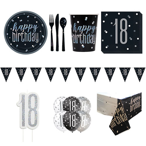 Black Glitz 18th Birthday 8 Person Deluxe Party Pack