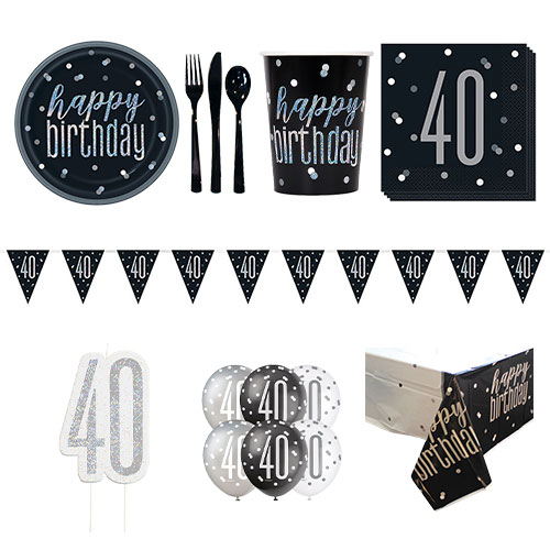 Black Glitz 40th Birthday 8 Person Deluxe Party Pack