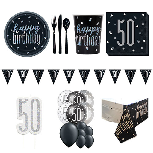 Black Glitz 50th Birthday 16 Person Deluxe Party Pack