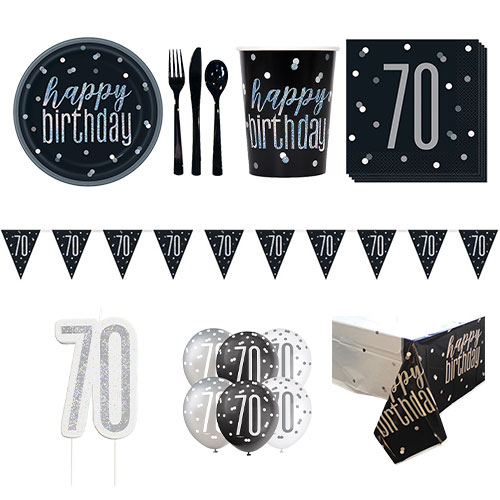 Black Glitz 70th Birthday 8 Person Deluxe Party Pack