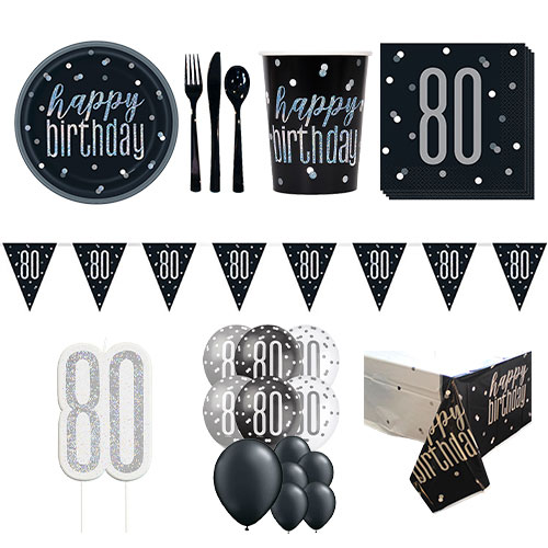 Black Glitz 80th Birthday 16 Person Deluxe Party Pack Product Image