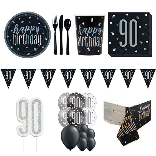 Black Glitz 90th Birthday 16 Person Deluxe Party Pack Product Image