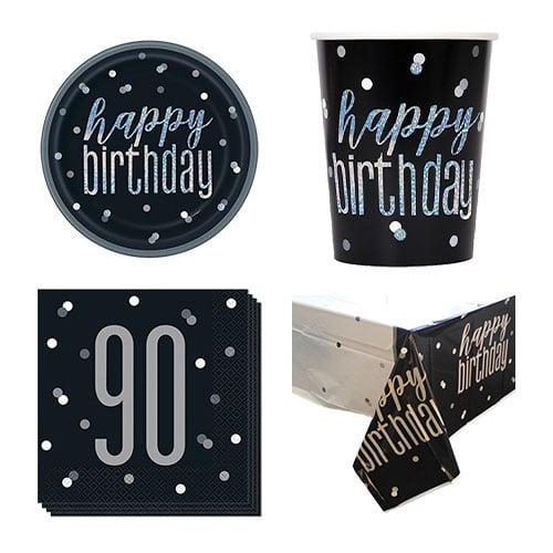 Black Glitz 90th Birthday 8 Person Value Party Pack