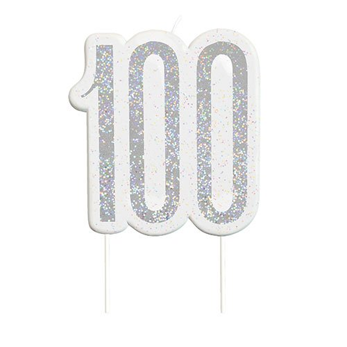 Black Glitz Silver Age 100 Birthday Candle 9cm Product Image