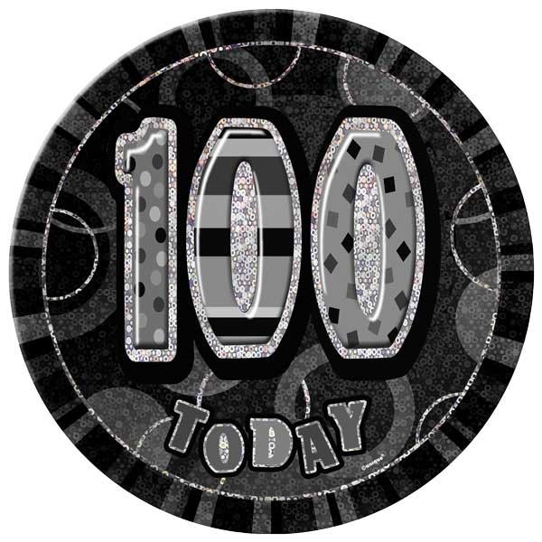 Black Glitz 100th Birthday Badge - 6 Inches / 15cm