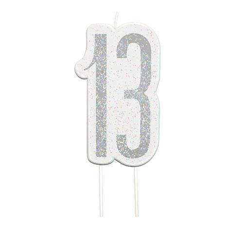 Black Glitz Silver Age 13 Birthday Candle 9cm Bundle Product Image