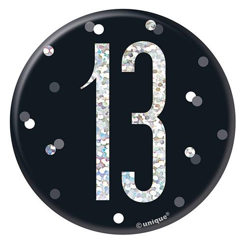 Black Glitz Age 13 Holographic Birthday Badge 7cm