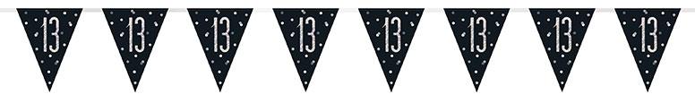 Black Glitz Age 13 Holographic Foil Pennant Bunting 274cm Bundle Product Image