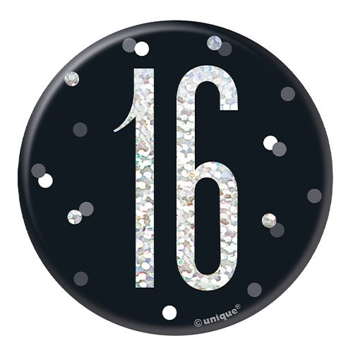 Black Glitz Age 16 Holographic Birthday Badge 7cm Product Image