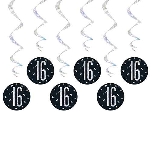 Black Glitz Age 16 Holographic Hanging Swirl Decorations - Pack of 6 Product Image