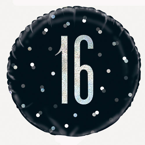 Black Glitz Age 16 Holographic Round Foil Helium Balloon 46cm / 18 in