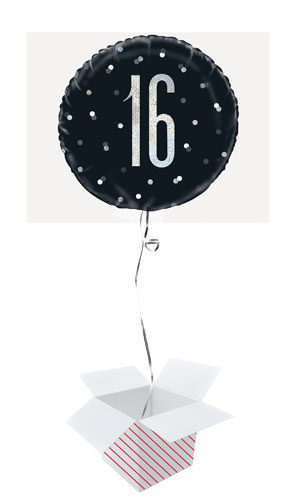 Black Glitz Age 16 Holographic Round Foil Helium Balloon - Inflated Balloon in a Box
