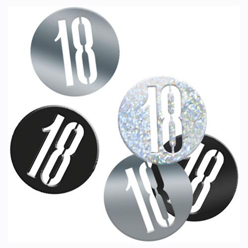 Black Glitz Age 18 Holographic Assorted Table Confetti 14 Grams