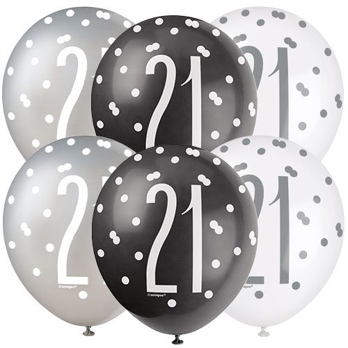 Black Glitz Age 21 Assorted Biodegradable Latex Balloons 30cm / 12 in - Pack of 6 Bundle Product Image