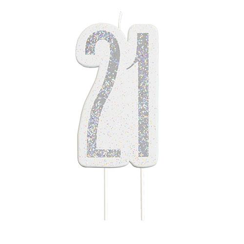 Black Glitz Silver Age 21 Birthday Candle 9cm